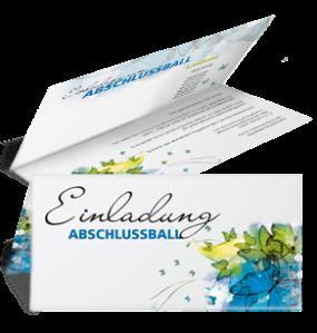 Einladungskarte Abiball Butterfly Falz Oben Blau
