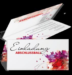 Einladungskarte Abiball Butterfly Falz Oben Rot