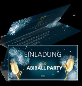 Einladungskarte Abiball Feuerwerk Blau Falz Oben
