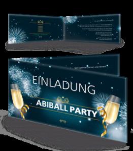 Einladungskarte Abiball Feuerwerk Blau Falz Seite