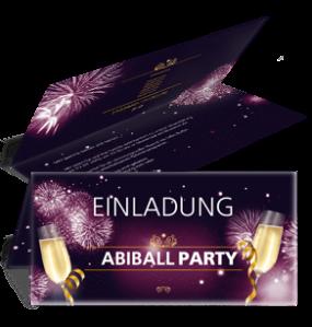 Einladungskarte Abiball Feuerwerk Lila Falz Oben