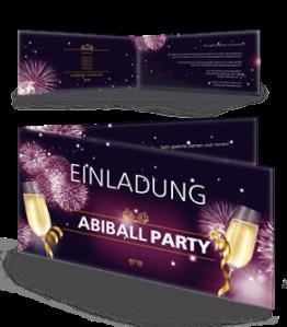 Einladungskarte Abiball Feuerwerk Lila Falz Seite