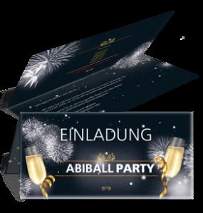 Einladungskarte Abiball Feuerwerk Schwarz Falz Oben