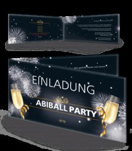 Einladungskarte Abiball Feuerwerk Schwarz Falz Seite
