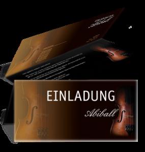 Einladungskarte Abiball Geige Falz Oben Gold