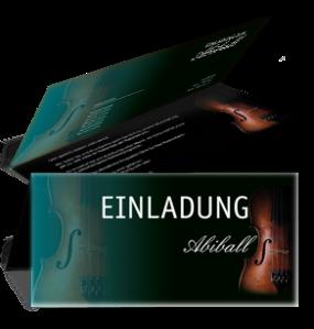 Einladungskarte Abiball Geige Falz Oben Tuerkis