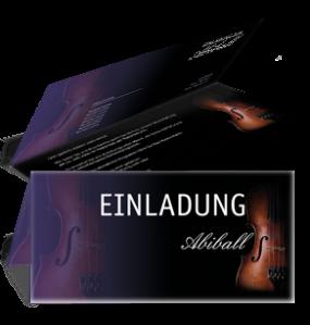 Einladungskarte Abiball Geige Falz Oben Violett