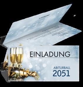 Einladungskarte Abiball Goldrausch Blau Falz Oben