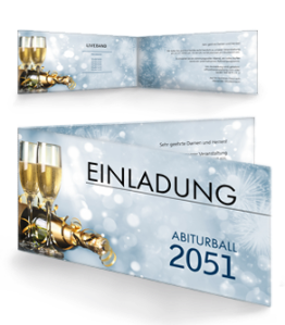 Einladungskarte Abiball Goldrausch Blau Falz Seite