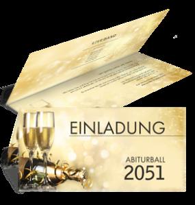Einladungskarte Abiball Goldrausch Gold Falz Oben