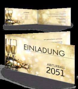Einladungskarte Abiball Goldrausch Gold Falz Seite