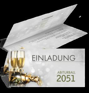Einladungskarte Abiball Goldrausch Silber Falz Oben