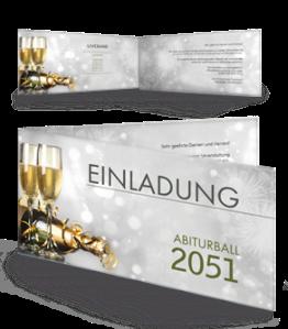 Einladungskarte Abiball Goldrausch Silber Falz Seite