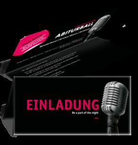 Einladungskarte Abiball Mikrofon Schwarz Falz Oben