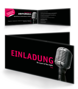 Einladungskarte Abiball Mikrofon Schwarz Falz Seite