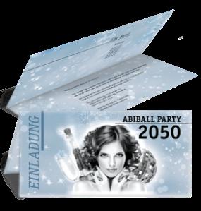 Einladungskarte Abiball Pinup Falz Oben Blau
