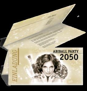 Einladungskarte Abiball Pinup Falz Oben Gold