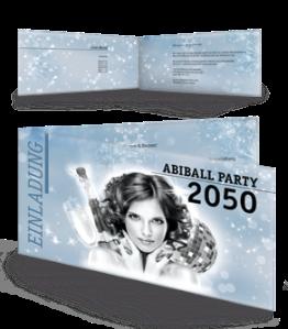 Einladungskarte Abiball Pinup Falz Seite Blau