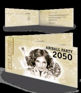 Einladungskarte Abiball Pinup Falz Seite Gold