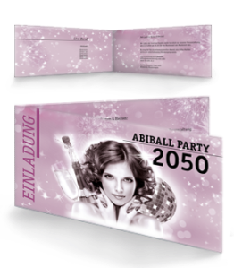 Einladungskarte Abiball Pinup Falz Seite Rosa