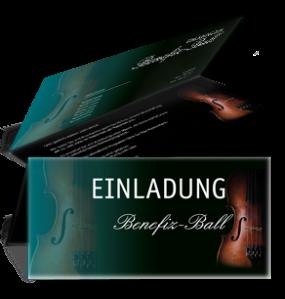 Einladungskarte Ball Geige Falz Oben Tuerkis