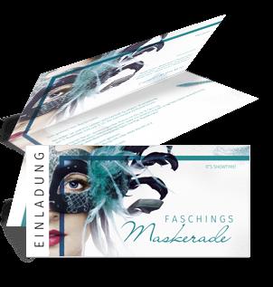 einladungskarte-fasching-maskerade-tuerkis-falz-oben