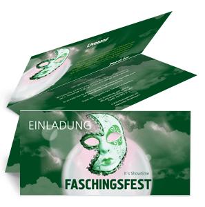 einladungskarte-fasching-venezianische-maske-gruen-falz-oben
