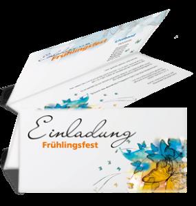 Einladungskarte Frühlingsfest Butterfly Falz Oben Orange
