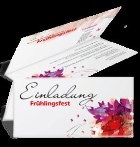 Einladungskarte Frühlingsfest Butterfly Falz Oben Rot