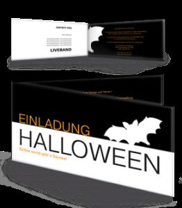 Einladungskarte Halloween Feldermaus Schwarz Falz Seite