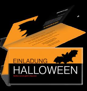 Einladungskarte Halloween Fledermaus Falz Oben Orange