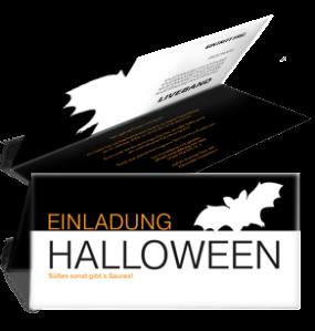 Einladungskarte Halloween Fledermaus Falz Oben Schwarz