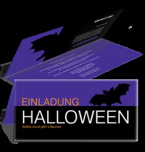 Einladungskarte Halloween Fledermaus Falz Oben Violett