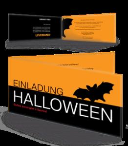 Einladungskarte Halloween Fledermaus Orange Falz Seite