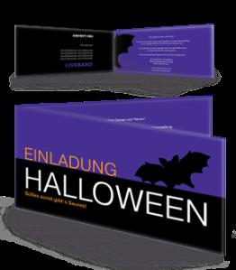 Einladungskarte Halloween Fledermaus Violett Falz Seite