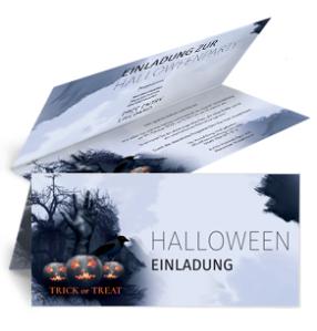 Einladungskarte Halloween Hand Falz Oben Blau