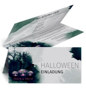 Einladungskarte Halloween Hand Falz Oben Gruen