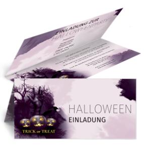 Einladungskarte Halloween Hand Falz Oben Violett