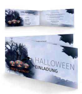 Einladungskarte Halloween Hand Falz Seite Blau