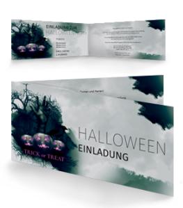 Einladungskarte Halloween Hand Falz Seite Gruen