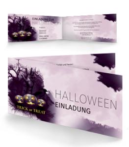 Einladungskarte Halloween Hand Falz Seite Violett