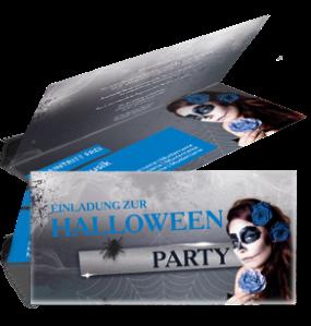 Einladungskarte Halloween La Cathrina Falz Oben Blau