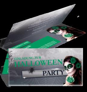 Einladungskarte Halloween La Cathrina Falz Oben Gruen