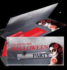 Einladungskarte Halloween La Cathrina Falz Oben Rot