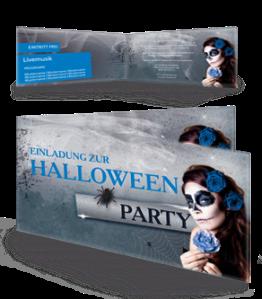 Einladungskarte Halloween La Cathrina Falz Seite Blau