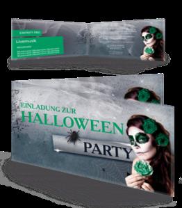 Einladungskarte Halloween La Cathrina Falz Seite Gruen