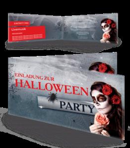 Einladungskarte Halloween La Cathrina Falz Seite Rot