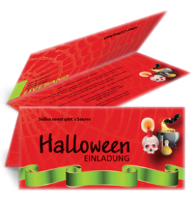 Einladungskarte Halloween Party by Night Falz Oben Rot