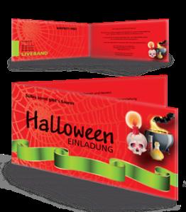 Einladungskarte Halloween Paty by Night Falz Seite Rot
