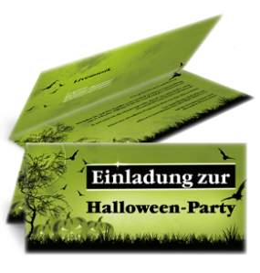 Einladungskarte Halloween Pumpkin Falz Oben Gruen